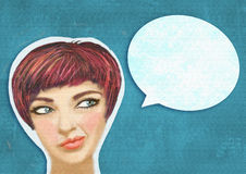 Art collage. Pop art illustration of woman with the speech bubble. royalty free stock photography