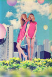 Art collage with twins Stock Photography