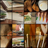 Art collage. Collage of various images of art and art supplies Royalty Free Stock Photography