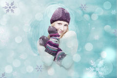 Art collage with winter girl. Vintage Stock Images