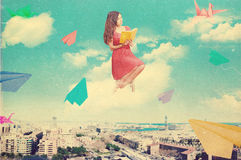 Art Collage With Beautiful Woman, Retro Style Stock Images