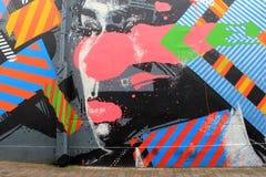 Art coloré de rue avec le visage de la femme au centre, ville de Limerick, Irlande, automne, 2014 Image libre de droits