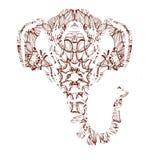 Art coloré stylisé de portrait d'éléphant sur le fond blanc Vecteur Images libres de droits