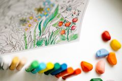 Art and Color Therapy. Anti Stress Adult coloring book. stock image