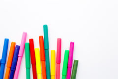Art - colored pens on white background Royalty Free Stock Images