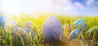 Art Colorful Easter ägg på gräset på bakgrund för blå himmel Fotografering för Bildbyråer