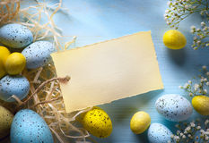 Art Colorful easter eggs. Background with easter eggs stock images