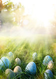 Art Colorful Easter eggs in the grass on sky background. Colorful Easter eggs in the grass on sky background Stock Photos