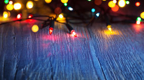 Art Colorful lights on blue background Stock Images