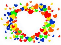 Art colorful love hearts on a white background stock images