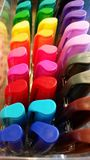Art: Colorful Markers. A box of colorful markers in a rainbow of colors Royalty Free Stock Photo