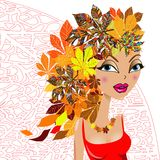 Art colorful sketching beautiful girl face Royalty Free Stock Photo