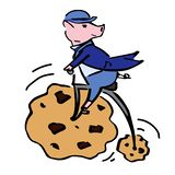 Art colour piglet on the penny-farthing illustration stock illustration
