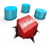 Art of Compromise Square Peg Round Hole Settle Differences. Art of Compromise on a square peg in a round hole to illustrate negotiating a settlement to an Royalty Free Stock Photos
