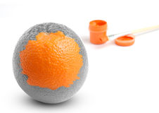 Art concept. One painted orange. Art concept royalty free stock photo