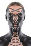 Art Concept Bodypainted på en kvinna som korsetterad Royaltyfri Fotografi