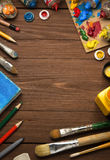 Art concept and paint  brush on wood Stock Photos