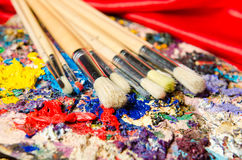 The art concept with palette and brushes royalty free stock photo