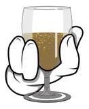 Main de bande dessinée - tenant le verre de vin - illustration de vecteur Images stock