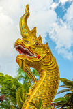 The art of concrete Naga (fabulous serpent) head statue Stock Photography
