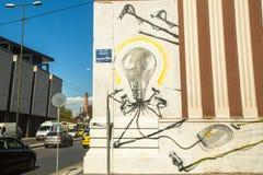 Art contemporain de graffiti sur des murs de ville Photographie stock