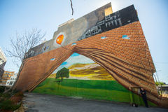 Art contemporain de graffiti sur des murs de ville Images libres de droits