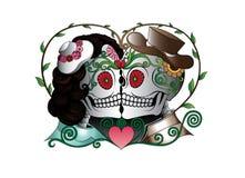 Art Couple Skulls Day des morts illustration libre de droits
