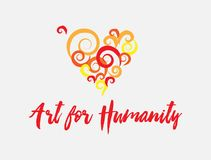 Art for Humanity Heart Colorful Artsy Poster Illustration. Art Courses Medical Valentines Heart Poster Illustration royalty free illustration