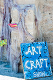 Art and craft board. Art and craft sign outside of gallery in Paphos on August 2014 Stock Photography