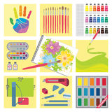 Art and craft elements – Watercolor painting Stock Image
