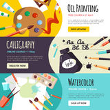 Art And Craft Lessons Banners Royalty Free Stock Photos