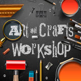 Art and crafts template with artist tools Stock Photography