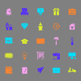 Art and creation color icons on gray background Stock Photography