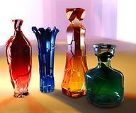 Art creative 3d illustration of crystall glass colored vase. And jar with cracks stock illustration