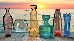 Art creative 3D illustration of crystall glass colored vases on sunset. Sea background vector illustration