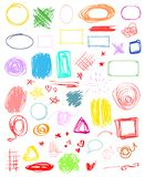 Art creative. Illustration. Multicolored infographic elements isolated on white. Set of different indicator signs. Tangled backdrops. Hand drawn simple objects royalty free illustration