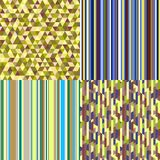 Art creative. Illustration. Set of seamless colored patterns. Pretty bright colors. Abstract geometric wallpaper of the surface. Striped backgrounds. Prints for royalty free illustration