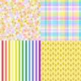 Art creative. Illustration. Set of seamless multicolored patterns. Checkered background. Abstract geometric wallpaper of the surface. Striped texture. Print for Stock Photo