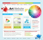 Art Creative Paint Website Template Design. A colorful technology website template with an art concept. There are paint splatters and a color wheel with swatches Royalty Free Stock Image