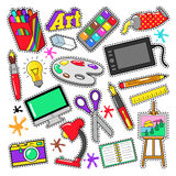 Art Creativity Badges, etiquetas engomadas, remiendos con las pinturas y herramientas de diseño Imagen de archivo libre de regalías