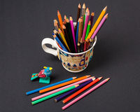 Art and creativity.Colourful  pencils in the cup Stock Photos