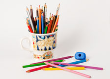 Art and creativity.Colourful  pencils in the cup Stock Images