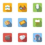 Art and creativity icons set, flat style. Art and creativity icons set. Flat illustration of 9 art and creativity vector icons for web Stock Photo