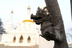 Art creature along pillar in Thai temple Royalty Free Stock Photography