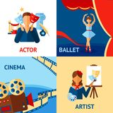 Art And Culture Design Concept Set. With actor ballet cinema artist flat icons isolated vector illustration Stock Photos