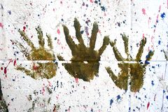 Hand prints. Art culture and entertainment royalty free stock image