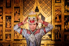 Art culture Thailand Dancing in masked khon in literature ramayana,Thai classical monkey masked, Khon,Thailand royalty free stock photo