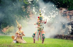 Art culture Thailand Dancing in masked khon in literature ramayana,Thai classical monkey masked, Khon,Thailand stock image