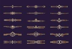 art décoprydnad guld- gränser för 20-taltappning och avdelare, grafiska beståndsdelar för retro titelrad, geometrisk nouveauvekto vektor illustrationer