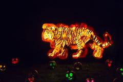 Art découpé de potiron : Tigre de marche image stock